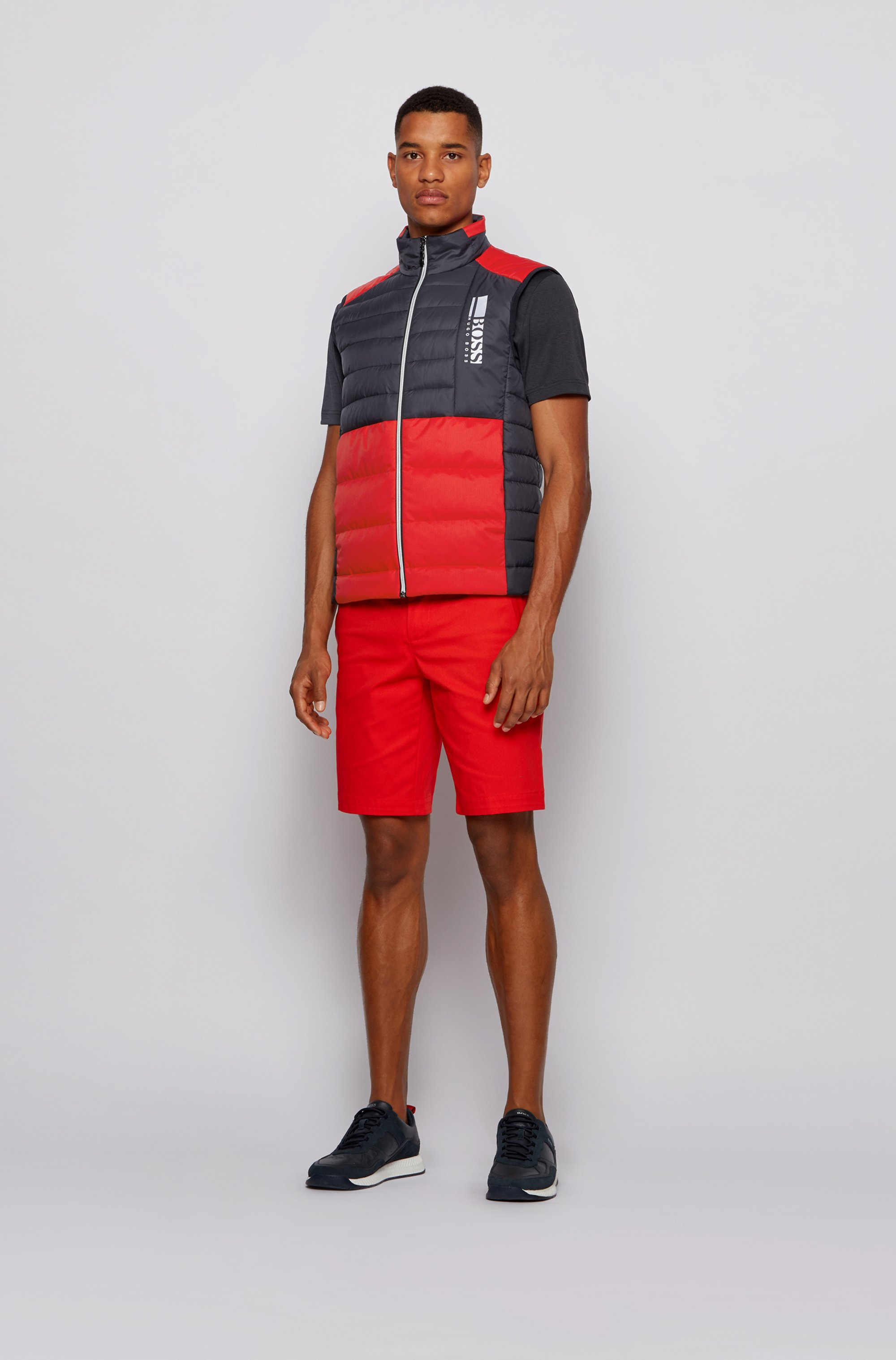 Color-block down gilet in water-repellent fabric