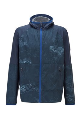 Packable jacket in water-repellent fabric with botanical print, Patterned