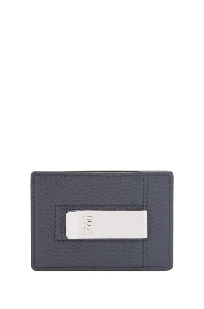 Italian-leather card holder with money clip