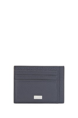 Card holder in grained Italian leather, Dark Blue