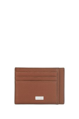 Grained-leather card holder with logo plate, Light Brown