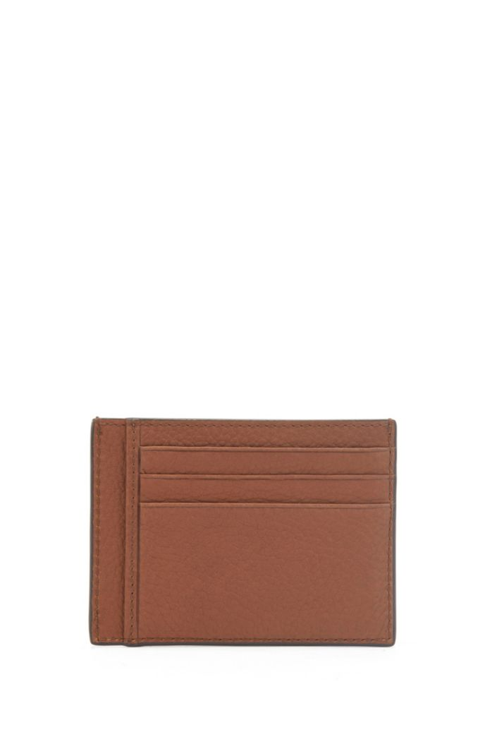 Grained-leather card holder with logo plate