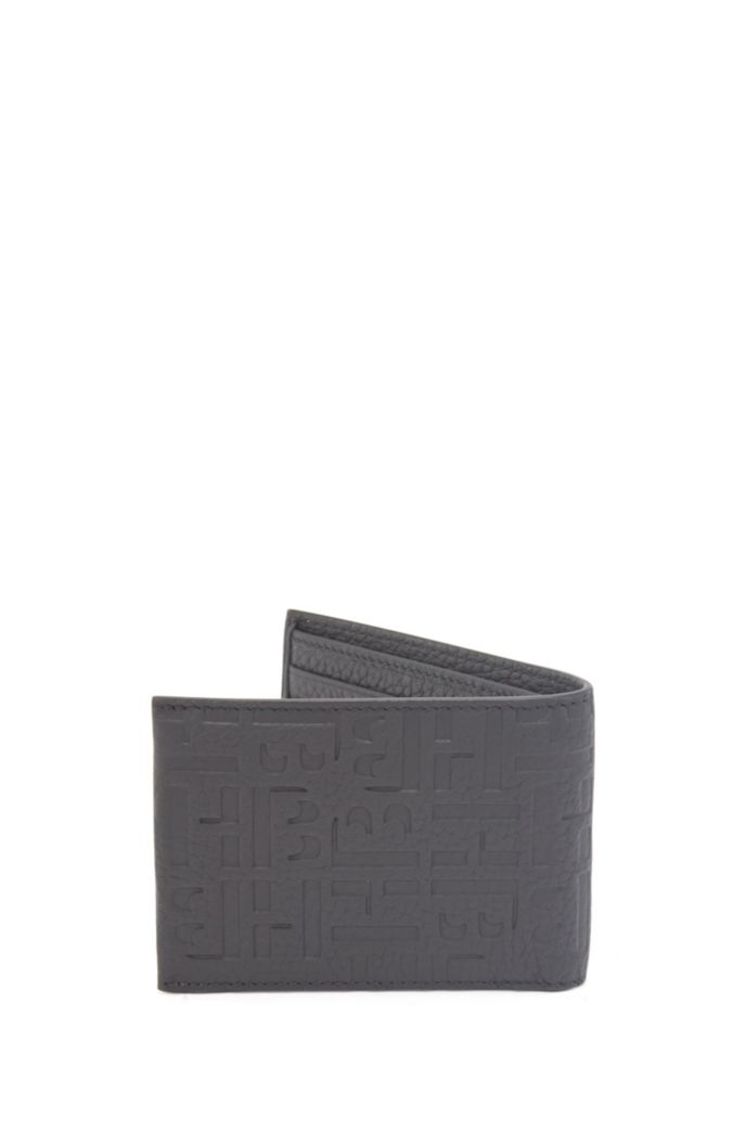 Italian-leather billfold with embossed monograms and RFID lining