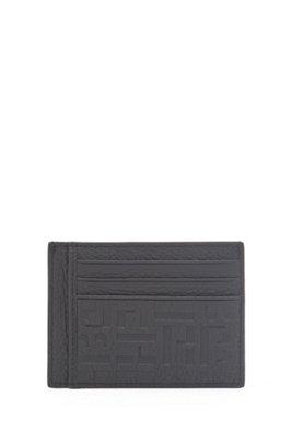 Monogram-embossed card holder in grained Italian leather, Black