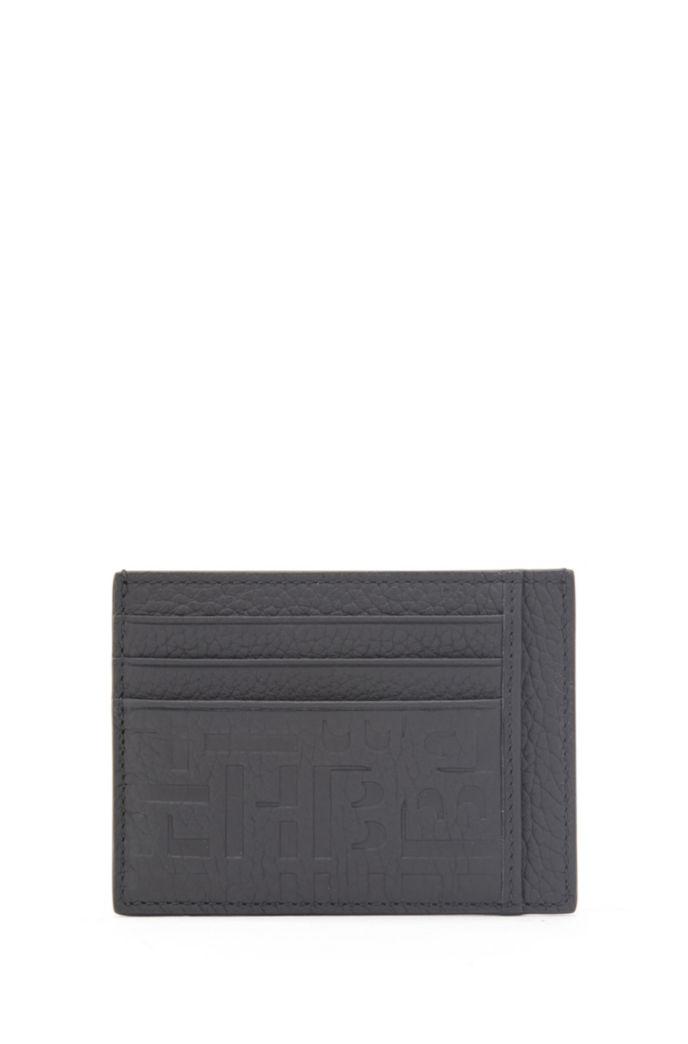 Monogram-embossed card holder in grained Italian leather
