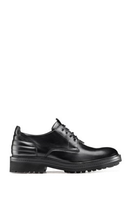 Derby shoes in smooth leather with lug sole, Black