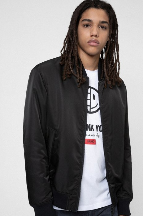 Unisex reversible bomber jacket in recycled fabric, Black