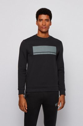 Slim-fit sweatshirt in interlock fabric with block logo, Black