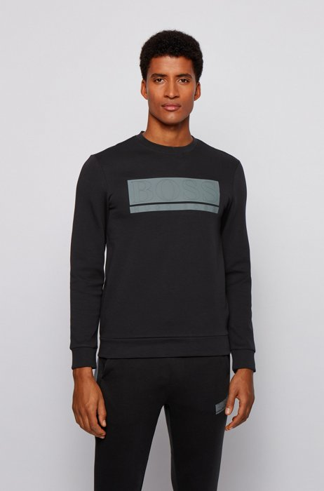 Slim-fit sweatshirt in interlock fabric with block logo, Black