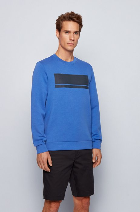 Slim-fit sweatshirt in interlock fabric with block logo, Blue