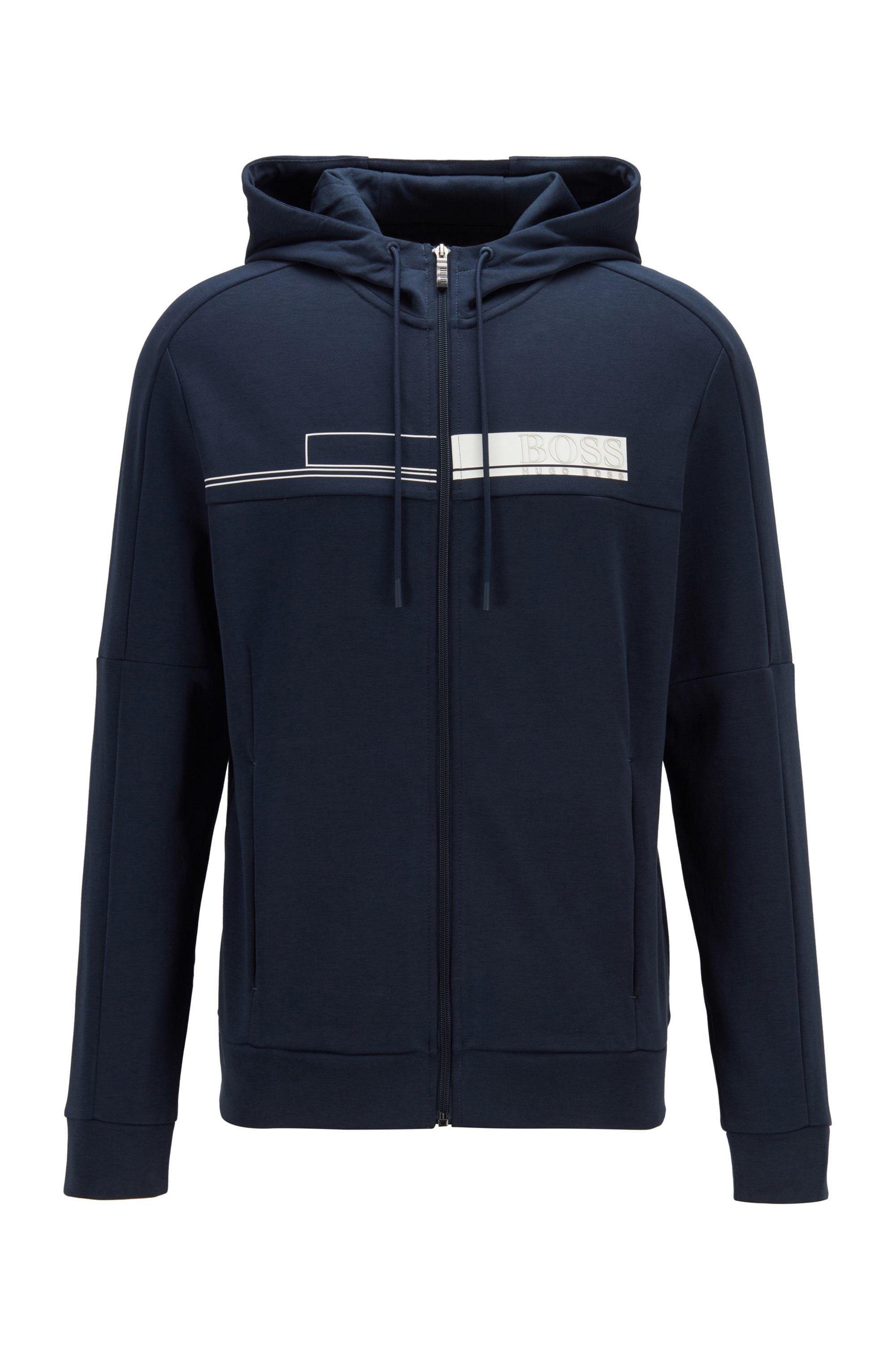 Hooded zip-through sweatshirt with block-print logo, Dark Blue
