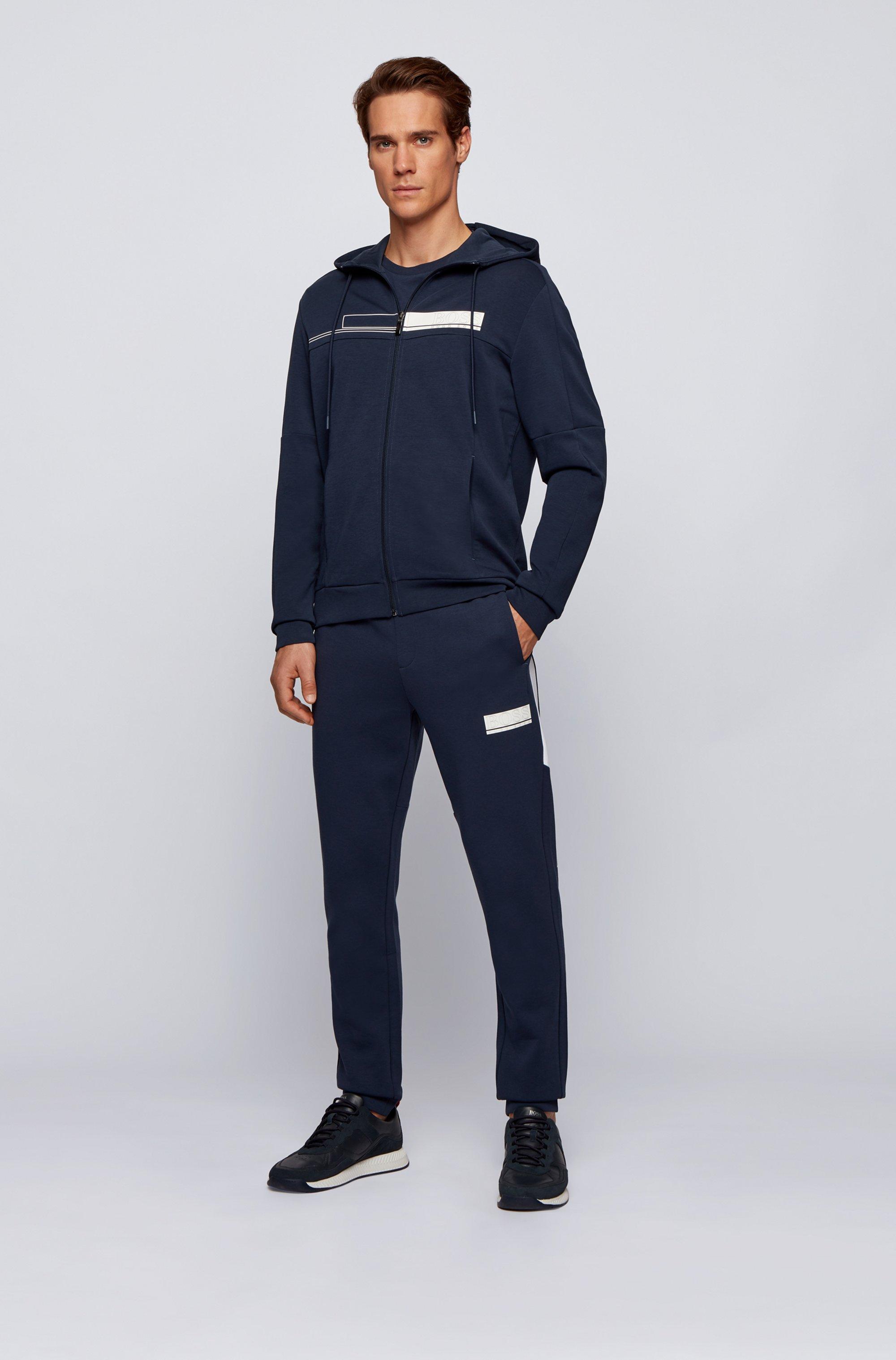 Hooded zip-through sweatshirt with block-print logo