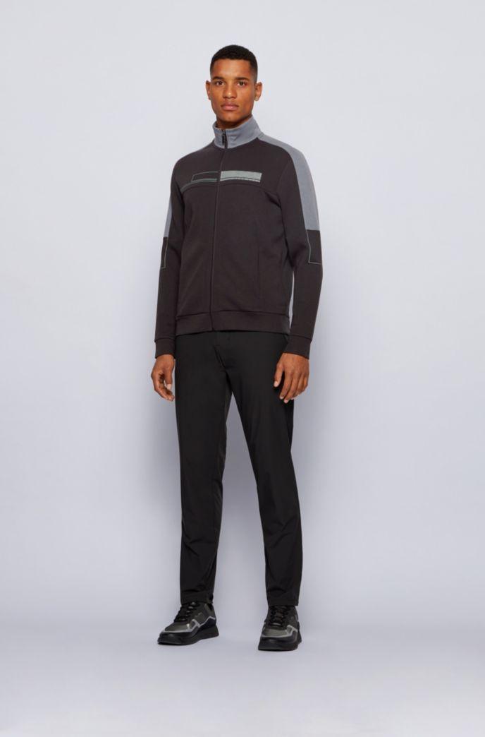 Zip-through sweatshirt with block logo and contrast details