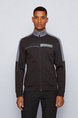 Zip-through sweatshirt with block logo and contrast details, Black