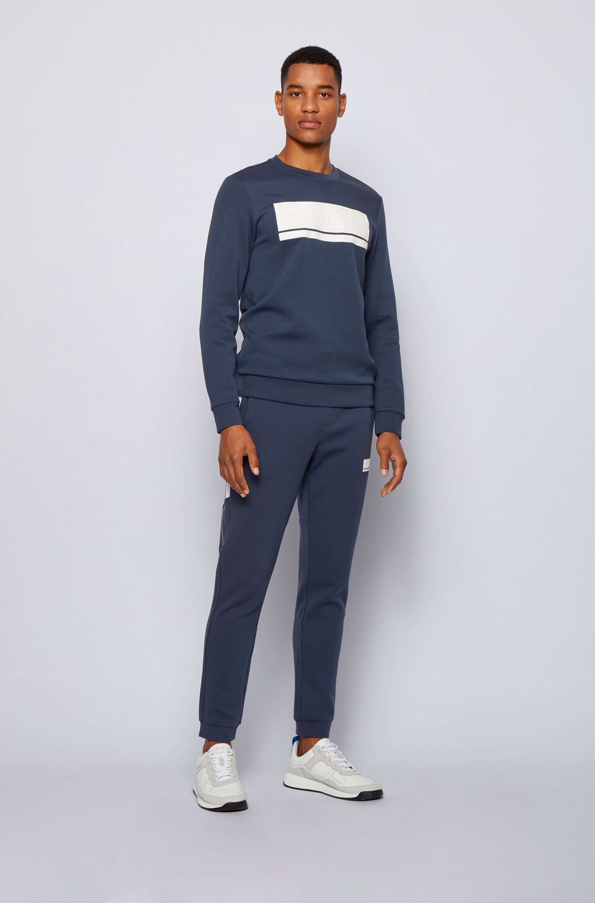 Slim-fit tracksuit bottoms with contrast stripes