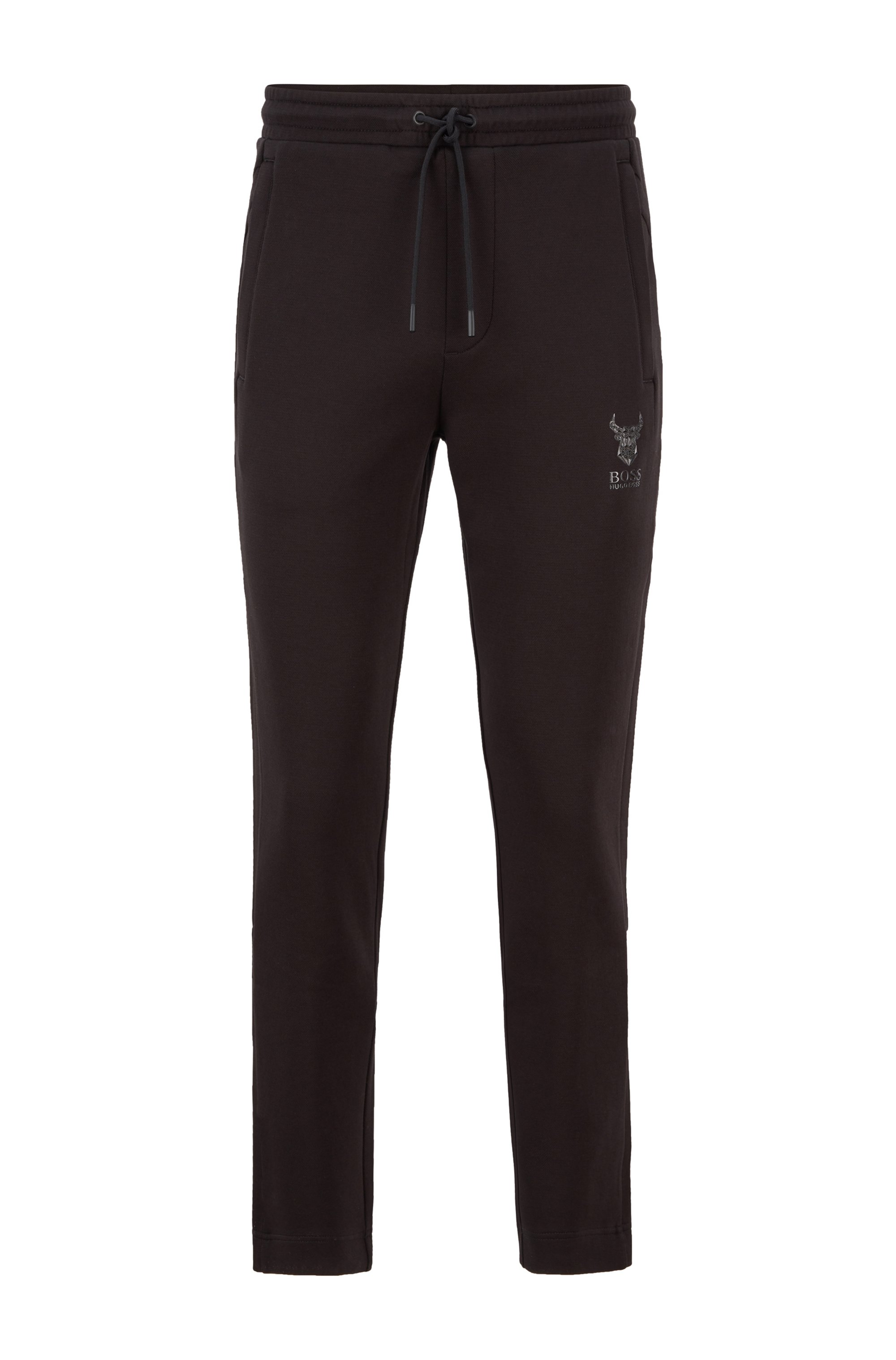 Piqué-knit tracksuit bottoms with ox-head artwork, Black
