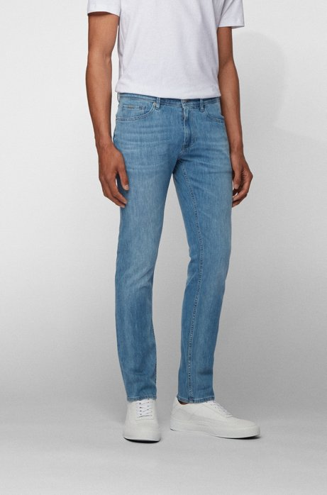 Extra-slim-fit jeans in super-soft Italian denim, Turquoise