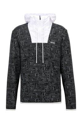 Logo-print sweatshirt with quarter zip and contrast inserts, Black