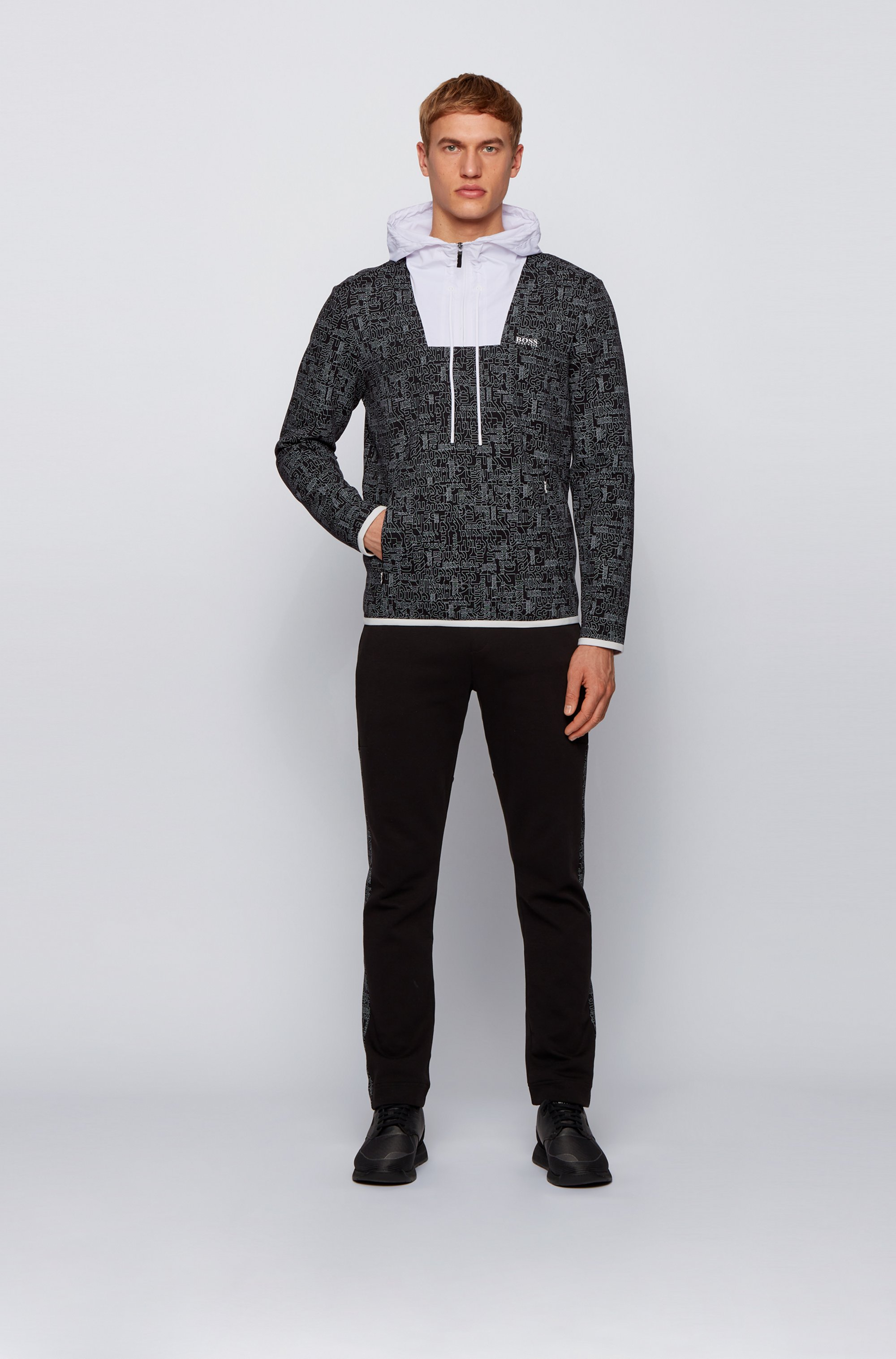 Logo-print sweatshirt with quarter zip and contrast inserts
