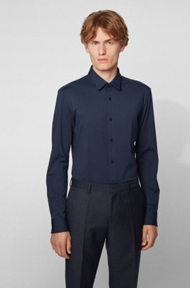 Slim-fit shirt in soft Italian jersey, Dark Blue