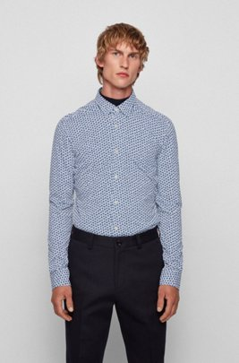 Floral-print slim-fit shirt in performance-stretch fabric, Dark Blue