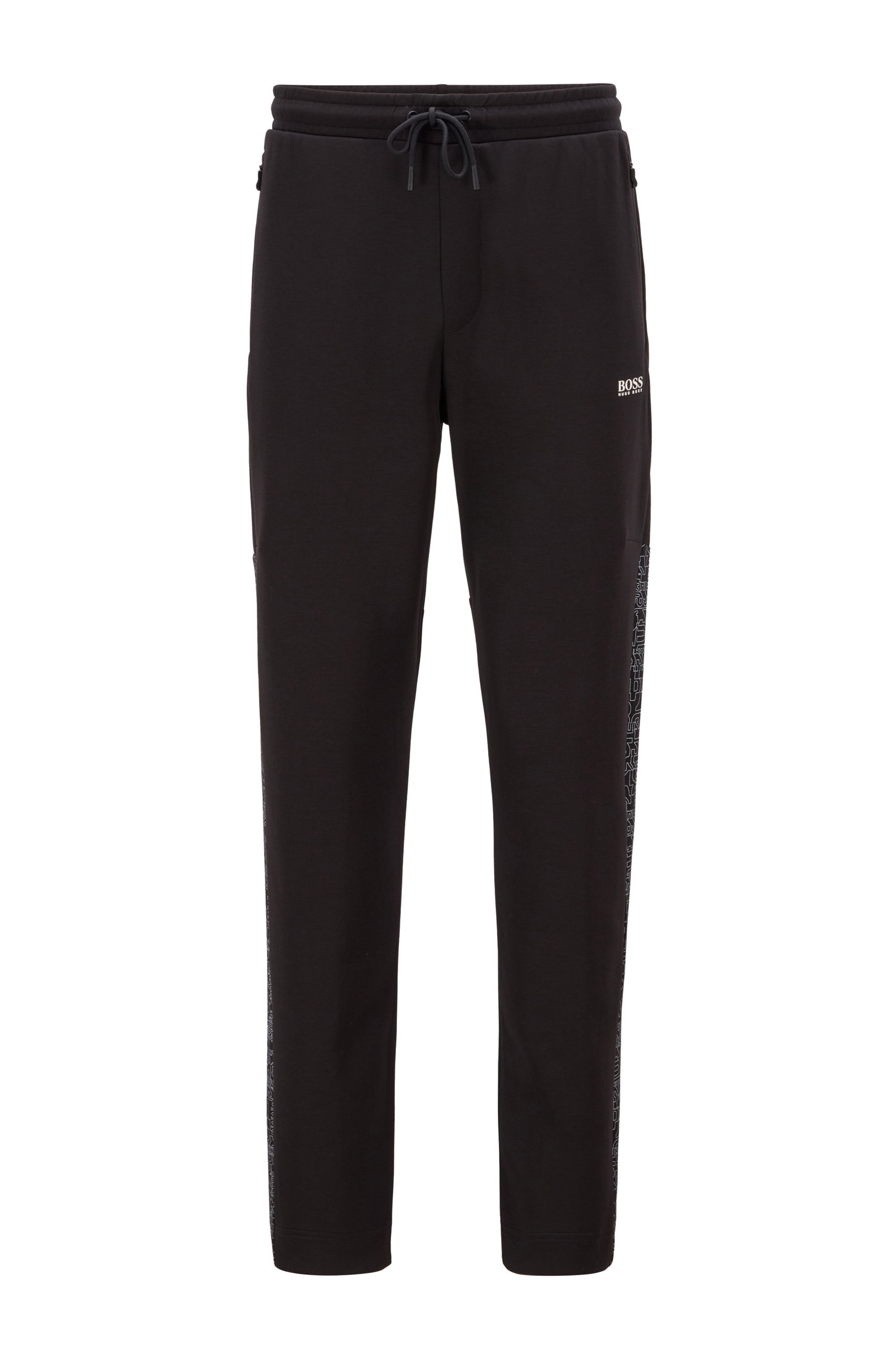 Interlock-jersey tracksuit bottoms with typographical-print side seams, Black