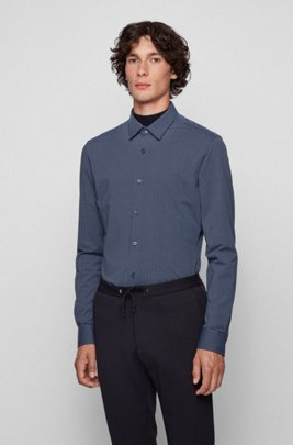 Graphic-print slim-fit shirt in performance-stretch fabric, Dark Blue