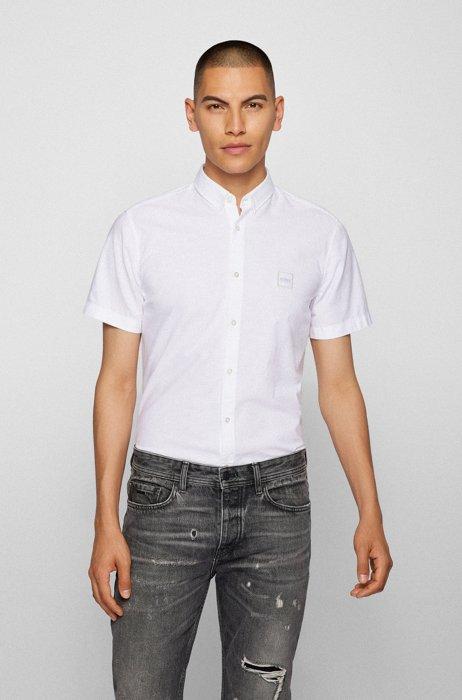 Chemise Slim Fit en coton peau de pêche avec patch logo, Blanc