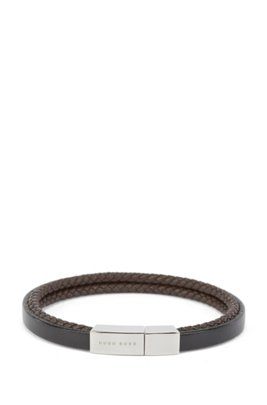Italian-made cuff in flat and braided leather, Black