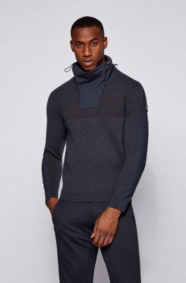 Funnel-neck sweater in a virgin-wool blend, Dark Blue