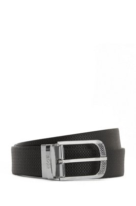 Reversible belt in Italian leather with polished hardware, Black