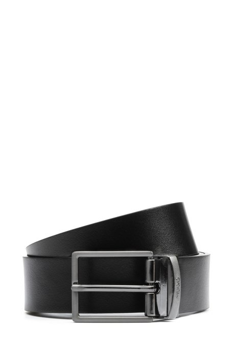 Reversible belt in leather with pin and plaque buckles, Black