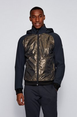 Water-repellent hooded jacket with hybrid outer, Dark Blue