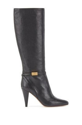 Knee-high boots in Italian leather with monogram hardware, Black