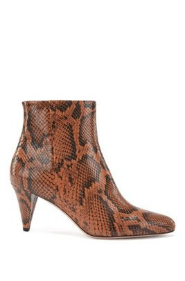Ankle boots in python-print Italian leather, Brown