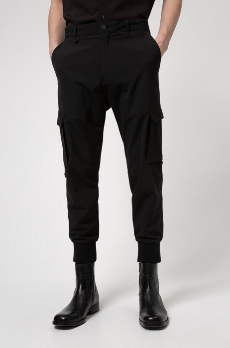 Slim-fit cargo pants in stretch twill, Black