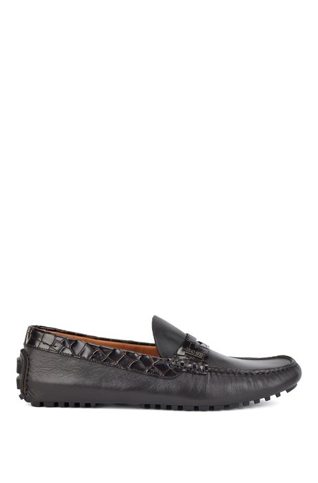 Driver moccasins in leather with crocodile-print trim, Dark Brown