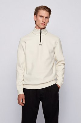 Relaxed-fit zip-neck sweatshirt in French terry, White