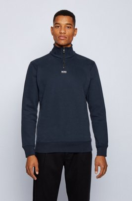 Relaxed-fit zip-neck sweatshirt in French terry, Dark Blue