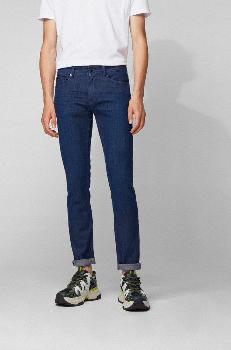 Slim-fit jeans in cashmere-touch Italian denim, Dark Blue