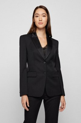 Regular-fit tuxedo jacket with silk trims, Black