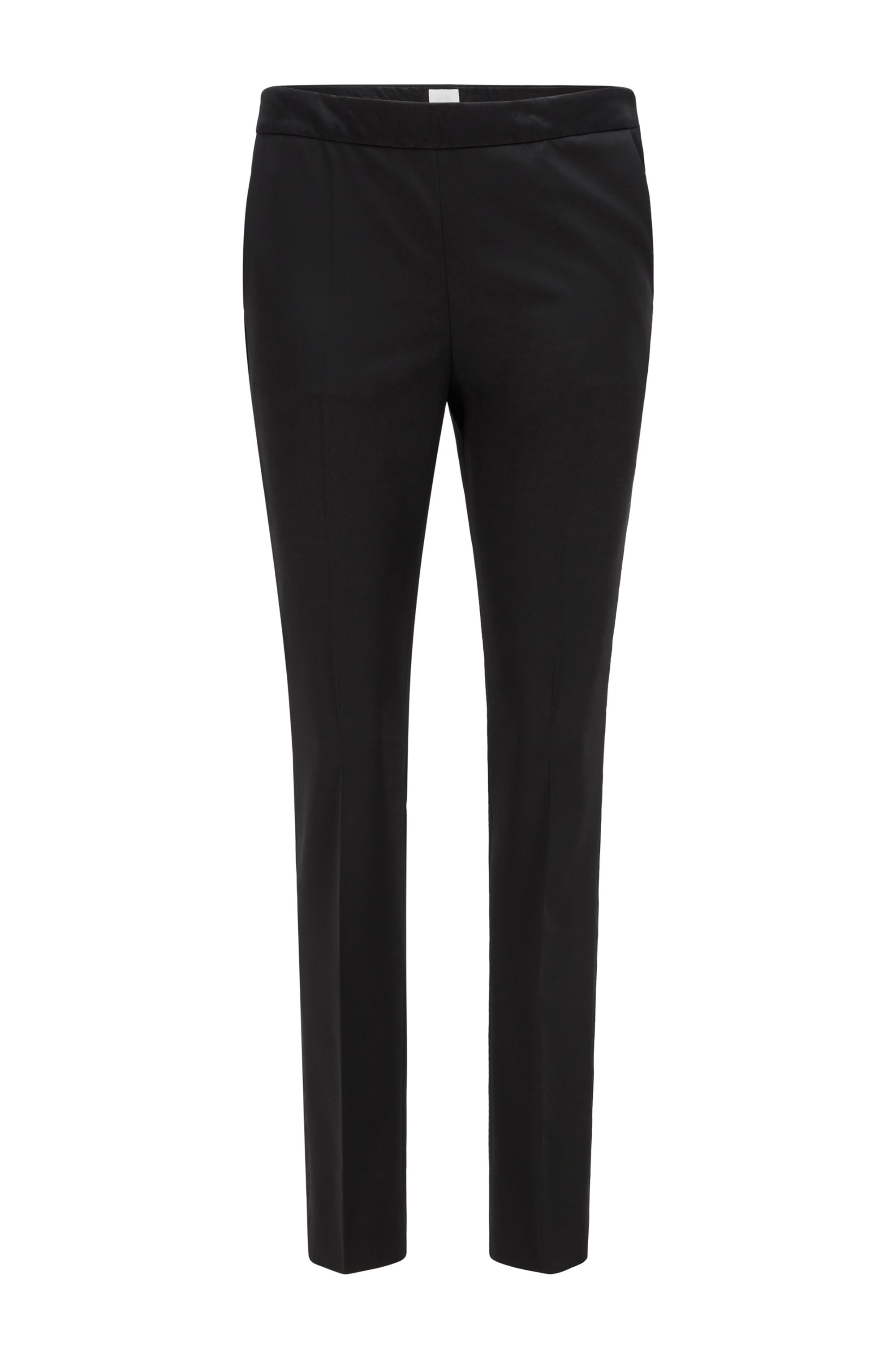 Regular-fit tuxedo pants with silk trims, Black