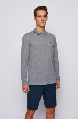 Long-sleeved polo shirt with new-season logo, Dark Blue