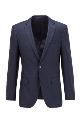 Slim-fit jacket in patterned virgin wool, Dark Blue