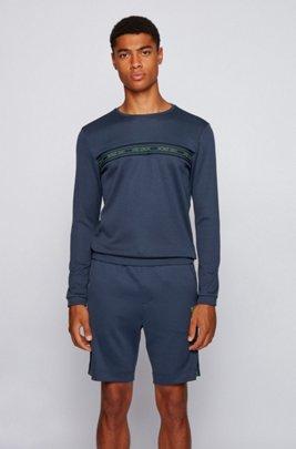 Slim-fit sweatshirt in a cotton blend , Dark Blue
