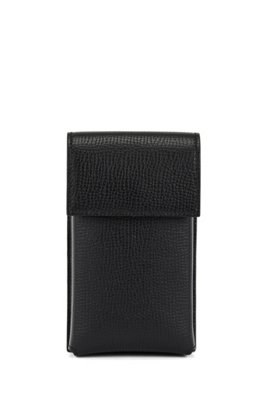 Neck pouch in Italian leather with detachable strap, Black