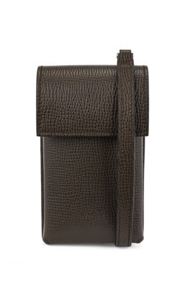 Neck pouch in Italian leather with detachable strap, Dark Green