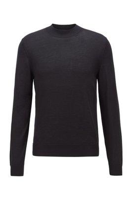 Mock-neck sweater in a wool blend, Black