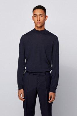 Mock-neck sweater in a wool blend, Dark Blue