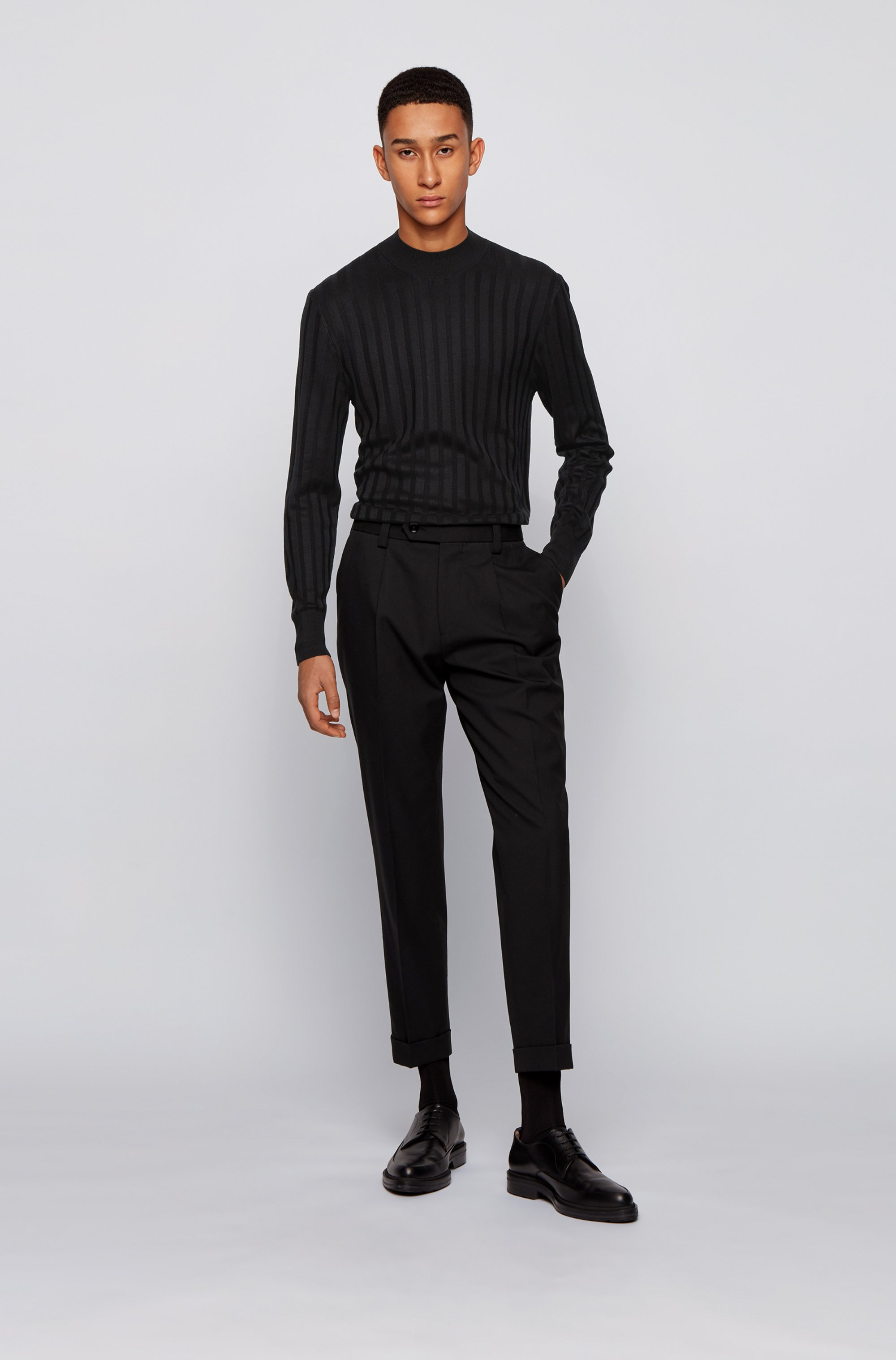Mock-neck sweater in pure silk with ribbed structure
